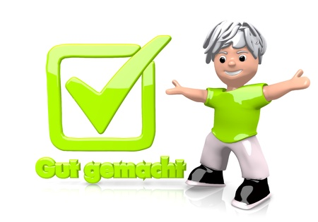 White  funny check 3d graphic with funny gut gemacht german for well done icon  with cute 3d character photo