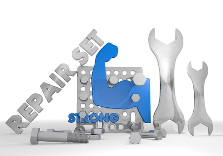 gearbox: Medium blue  mechanical gearbox 3d graphic with mechanical strong symbol repair set