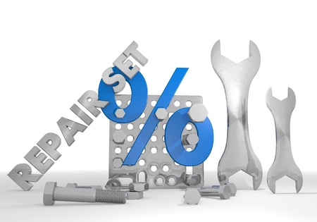 price reduction: Medium blue  isolated price reduction 3d graphic with mechanical percent sign repair set