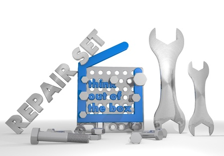 think out of the box: Medium blue  mechanical set 3d graphic with mechanical think out of the box symbol repair set