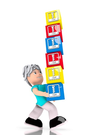 carried: Black  compressed symbol 3d graphic with isolated 7zip file pile  carried by a cute character Stock Photo