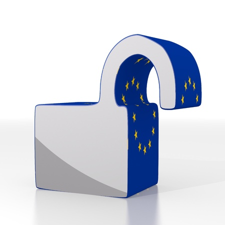 unsafe: Silver  leaking europe 3d graphic with isolated unsafe icon  with eu flag pattern