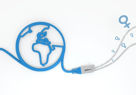 sent: Medium Persian blue  connected connection 3d graphic with sent woman icon with network cable and world symbol
