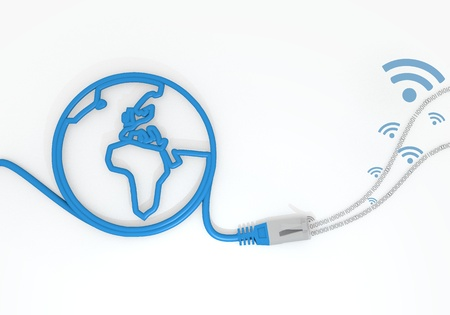 sent: Medium Persian blue  sent network 3d graphic with isolated wifi icon with network cable and world symbol Stock Photo