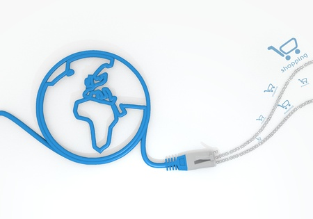 sent: Medium Persian blue  sent connection 3d graphic with submitted shopping symbol with network cable and world symbol Stock Photo