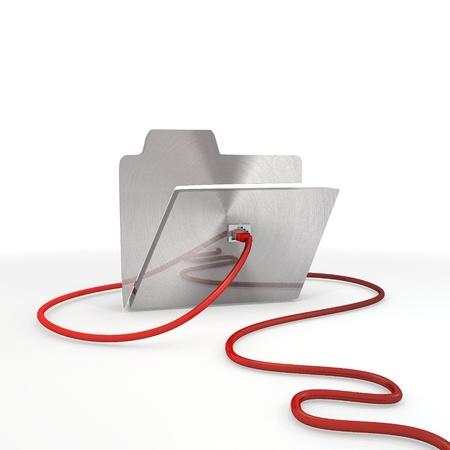Pastel gris metálico organizar gráfico 3d con el icono de carpeta metálica conectada con un cable de red