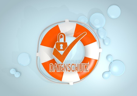 rescued: Dark pastel red  safed security 3d graphic with safed datenschutz(english data protection) sign rescued by a lifesafer Stock Photo