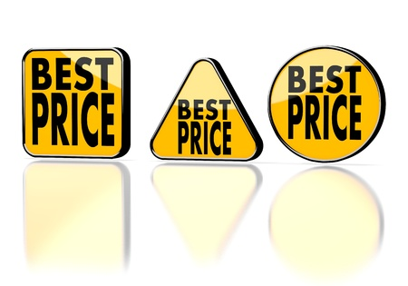 Dark orange  lowest price sale 3d graphic with caution best price symbol on three warning signs photo