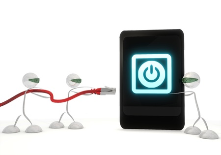 activated: Red  activated access 3d graphic with stylish on symbol on a smart phone with three robots