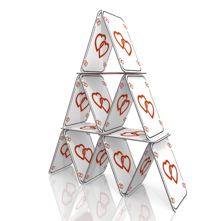 balanced: White  fragile connection 3d graphic with balanced two hearts icon  on a card house Stock Photo