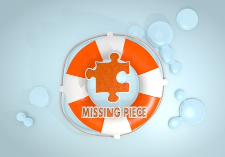 rescued: Dark pastel red  complete safety 3d graphic with creative missing piece icon rescued by a lifesafer Stock Photo