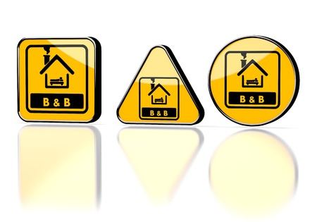 accommodation: Dark orange  caution accommodation 3d graphic with caution bed and breakfast symbol on three warning signs
