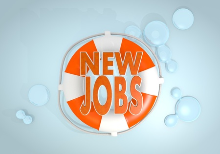 employ: Dark pastel red  isolated employ 3d graphic with isolated new jobs icon rescued by a lifesafer Stock Photo