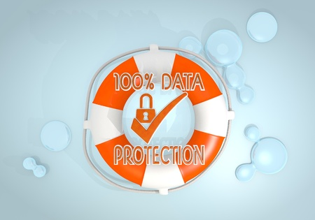 Dark pastel red  safed help 3d graphic with isolated data protection icon rescued by a lifesafer photo