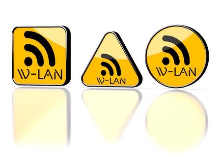 wlan: Dark orange  element network 3d graphic with caution w-lan symbol on three warning signs