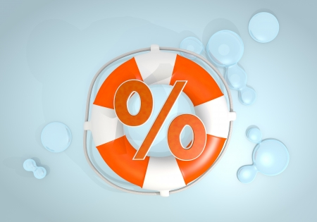 rebate: Dark pastel red  isolated rebate 3d graphic with isolated percent icon rescued by a lifesafer