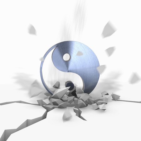 Blue  harmonical harmful 3d graphic with explosive ying yang icon fallen from sky photo
