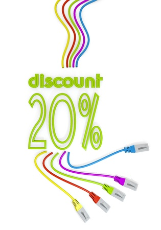cat5: Limerick  happy special offer 3d graphic with connected discount symbol with colourful network cable