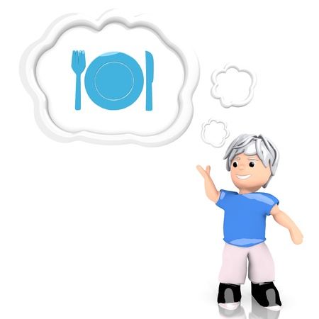 smart boy: Medium Persian blue  smart boy 3d graphic with isolated restaurant icon  thought by a 3d character Stock Photo