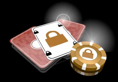 glaring: Pastel gray  glaring lock 3d graphic with glaring secure icon  on poker cards