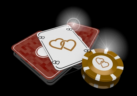 risky love: Pastel gray  glaring casino 3d graphic with glaring two hearts sign  on poker cards