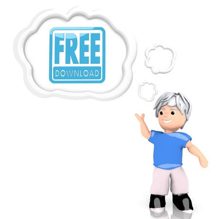 free speech: Medium Persian blue  isolated boy 3d graphic with smart free download icon  thought by a 3d character Stock Photo