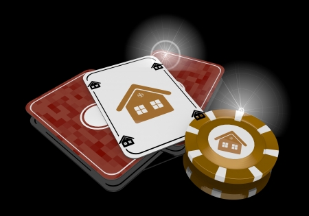 glaring: Pastel gray  funny casino 3d graphic with glaring house icon  on poker cards
