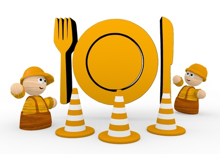 Dark orange  cute dinner 3d graphic with tiny restaurant symbol  with two cute 3d characters photo