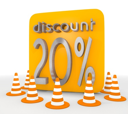 shutoff: Red  -20 3d graphic with isolated discount icon