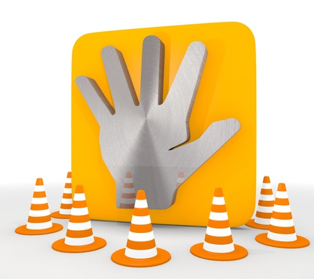 shutoff: Red  stopping design 3d graphic with decorative hand icon  Stock Photo