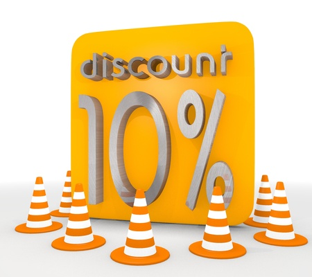 shutoff: Red  -10 blocakde 3d graphic with -10 discount icon