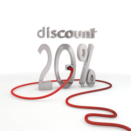 price reduction: Pastel gray  -20 price reduction 3d graphic with stylish discount symbol connected with a network cable Stock Photo