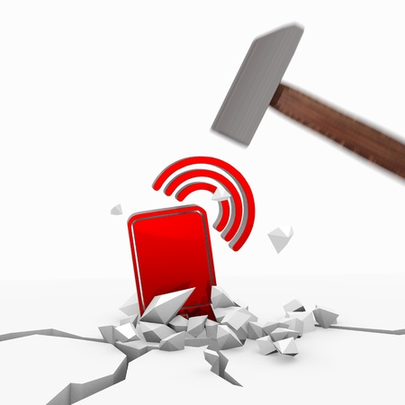 unbreakable: Red  unbreakable wire less lan 3d graphic with isolated smart phone symbol smashed with a hammer
