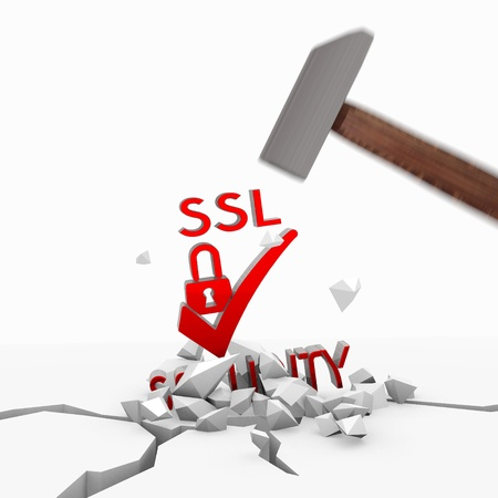 ciphering: Red  powerful tool 3d graphic with isolated SSL symbol smashed with a hammer