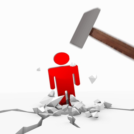 unbreakable: Red  powerful destruction 3d graphic with unbreakable man icon smashed with a hammer Stock Photo