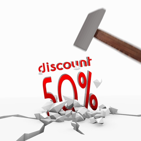 price hit: Red  isolated best price 3d graphic with isolated discount icon smashed with a hammer
