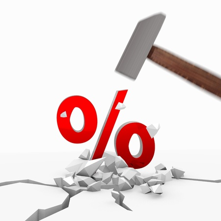 unbreakable: Red  isolated marketing 3d graphic with unbreakable percent icon smashed with a hammer