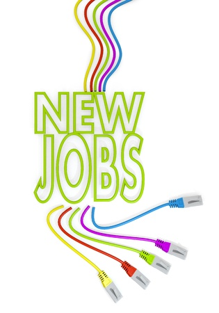 Limerick  happy job 3d graphic with friendly new jobs symbol with colourful network cable photo