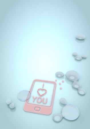 nifty: Dark pastel blue  nifty smartphone 3d graphic with fluid I love you symbol