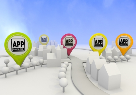 Electric lime  symbol village 3d graphic with nice app download sign on four map marker photo