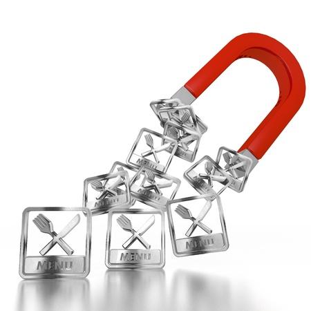 magnetismo: Bianco semplice 3d magnetismo grafico con segno isolato men� attratto da un magnete