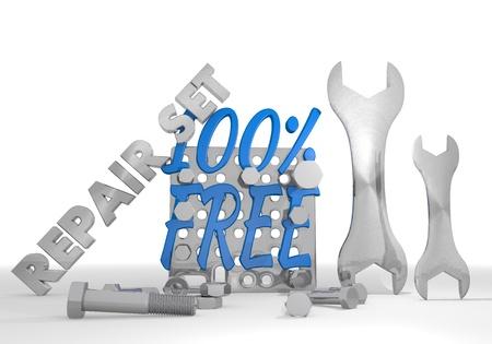 Medium blue  100 percent free set 3d graphic with mechanical free sign repair set photo