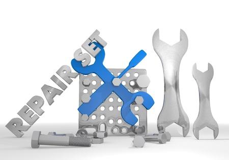 Medium blue  engineering gearbox 3d graphic with mechanical mechanic symbol repair set photo
