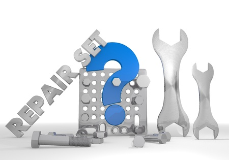 unclear: Medium blue  unresolved question mark 3d graphic with unclear question sign repair set