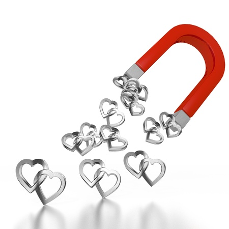 magnetic: White  electromagnetic magnetism 3d graphic with magnetic two hearts sign attracted by an magnet Stock Photo
