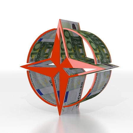 navigating: Red  expensive economy 3d graphic with navigating compass icon  with euro texture