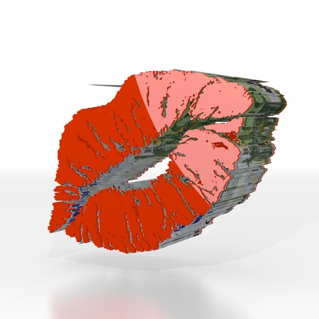Red  shiny cash 3d graphic with expensive kiss symbol  with euro texture photo