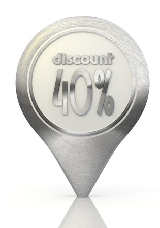 Pastel gray  icon offer 3d graphic with modern discount sign on a chrome map marker photo