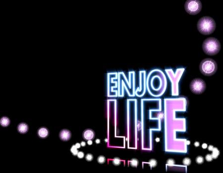 enjoy life: Raffreddare magia nera patry grafica 3d con lucido icona godere la vita sulla discoteca luci di sfondo