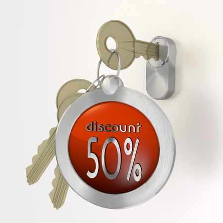 deduction: Red  -50 deduction 3d graphic with safe discount sign  on a key Stock Photo